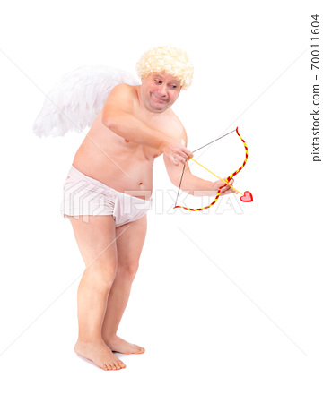 Funny angel shoot arrow of love, isolated on white background. Fat adult angel aiming arrow. 70011604