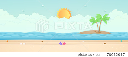Summer Time, seascape, landscape, starfish on the beach with sea and island, bright sun in the sky, paper art style 70012017