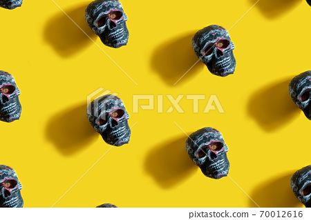Seamless pattern Human skull on a yellow background with shadow. 70012616