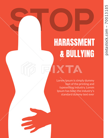 Sexual harassment violence stop poster. Sexual harassment assault woman concept 70013185