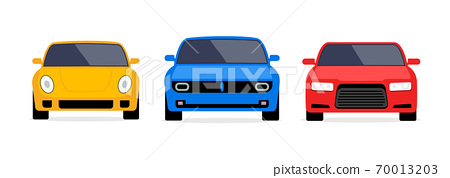 Car front view vector flat icon. Car parking cartoon front design shape 70013203