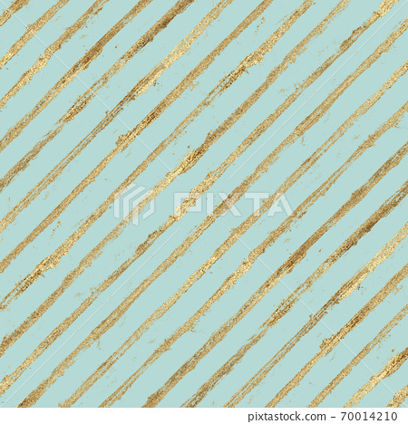 Abstract grunge seamless pattern with golden glittering acrylic paint diagonal stripes on pastel green background 70014210