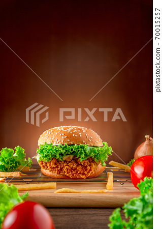 Hemberger Fried chicken. Delicious hamburgers, delicious fast food or junk food.   70015257