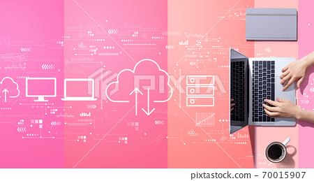 Cloud computing with person working with laptop 70015907