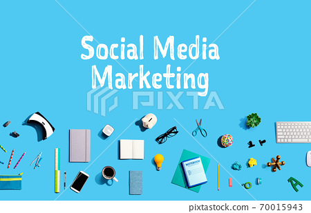 Social media marketing with electronic gadgets and office supplies 70015943