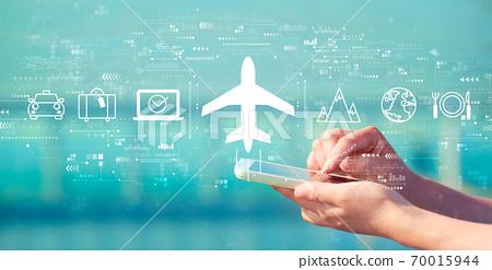 Flight ticket booking concept with smartphone 70015944
