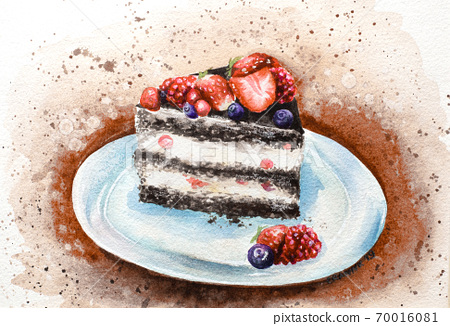 Hand-painted watercolor sweet yummy fruit creamy cake illustration 70016081