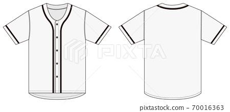 반팔 베이스볼 셔츠 T 셔츠 템플릿 일러스트 (흰색 화이트) 70016363