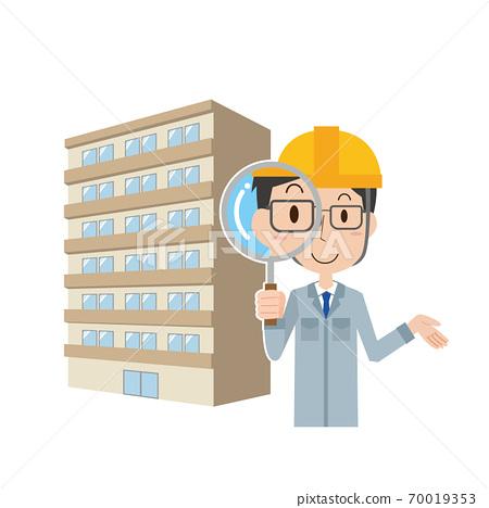 一家建築公司的男性員工正在調查公寓 70019353
