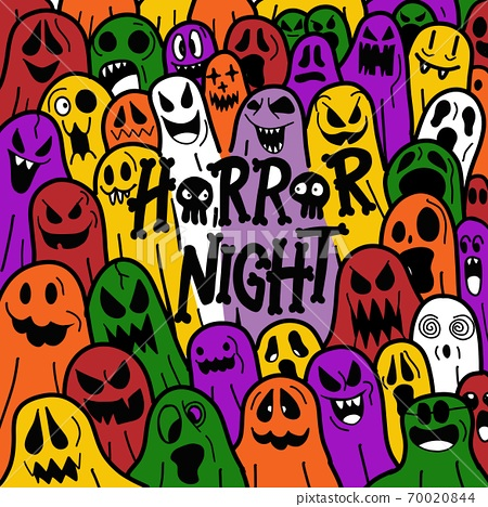 Halloween cute ghost icon in various style, pattern wallpaper background 70020844