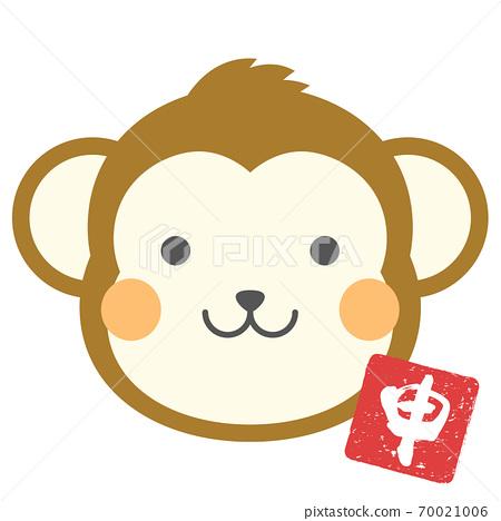十二生肖圖,猴子,臉圖標 70021006