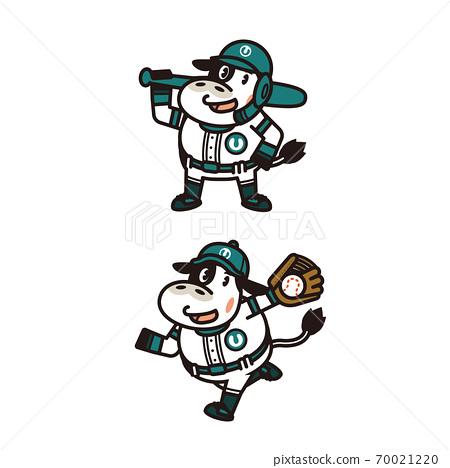 身穿制服並擺姿勢的奶牛[棒球,守門員,投手,年年,新年賀卡材料]插圖 70021220