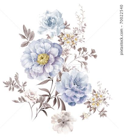 水彩玫瑰花卉集合 70022540