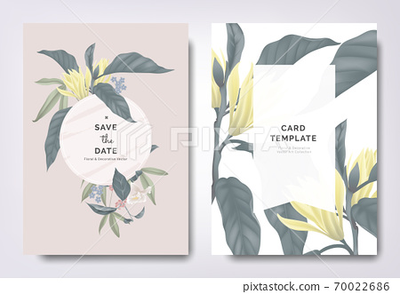 Botanical wedding invitation card template design, white Champaka and other leaves with white frame 70022686