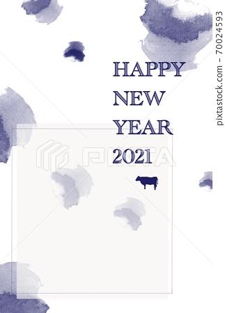 新年賀卡2021年新年快樂(帶有註釋框架)垂直 70024593