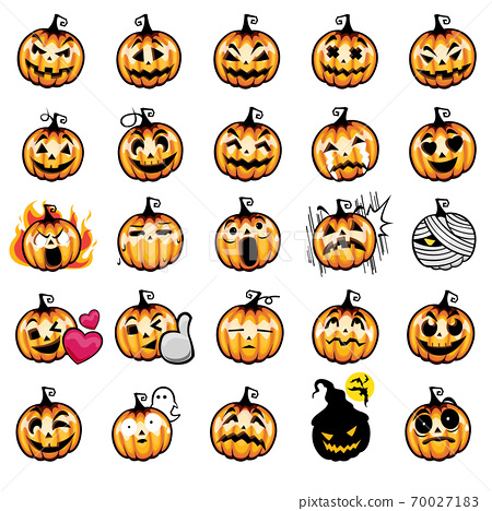 Set of halloween pumpkins on white background. The symbol of the Happy Halloween holiday. Orange pumpkin with face smile for the holiday Halloween. Vector illustration. 70027183