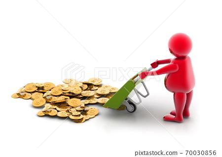 Gold Coin In Wheelbarrow 70030856