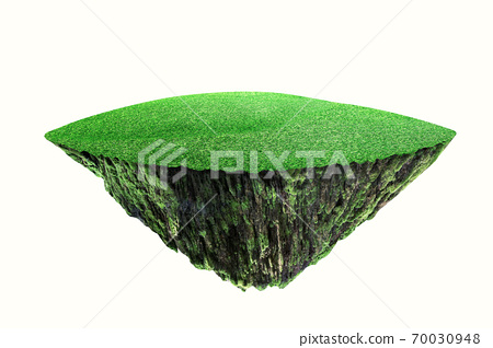 round soil ground cross section with earth land and green grass.  fantasy floating island with natural on the rock, 70030948