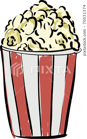 Handwritten artistic popcorn illustration 70031374