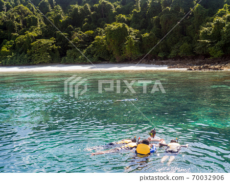 Many people young boys girls snorkeling, Vacationers snorkeling in clear sea water 70032906