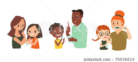 Diverse Family Brushing their Teeth together. 70036614