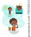 black boy brushing teeth illustration 70036615