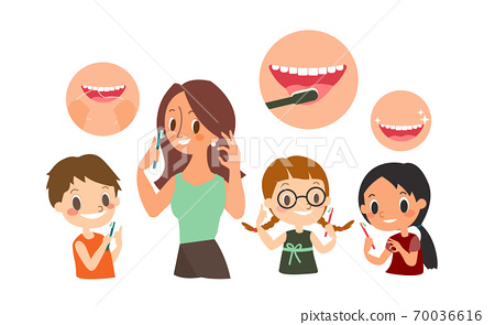 Dental and orthodontic daily life illustration 70036616