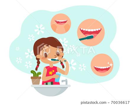 Young girl brushing teeth illustration 70036617
