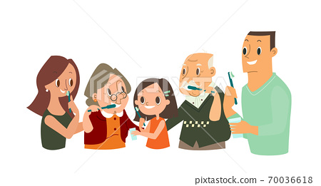 Big Family Brushing their Teeth together. 70036618