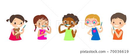 Multiracial kids brushing their Teeth. 70036619
