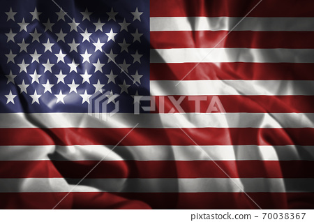 Closeup of rippled United States of America Flag , Celebrating Independence Day. 70038367