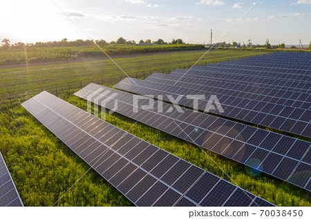 Solar panel field at the sunset 70038450