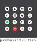 Set of the video chat user interface icons 70039372
