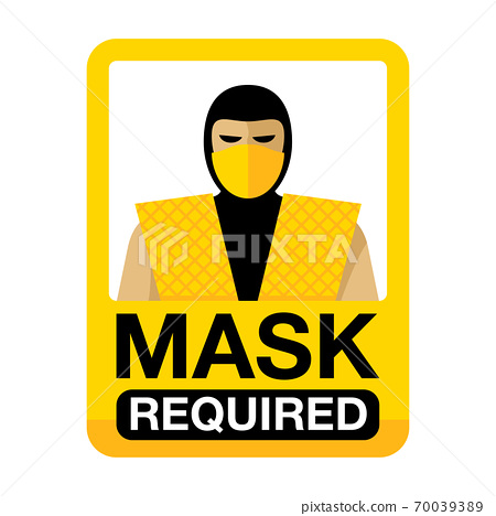 Mask required sign with video game character 70039389