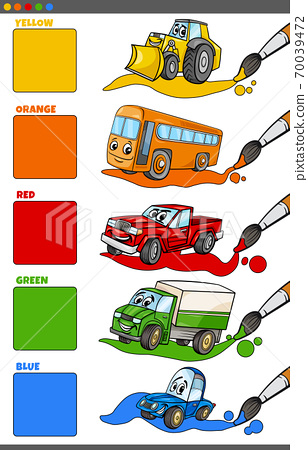basic colors set with cartoon vehicle characters 70039472