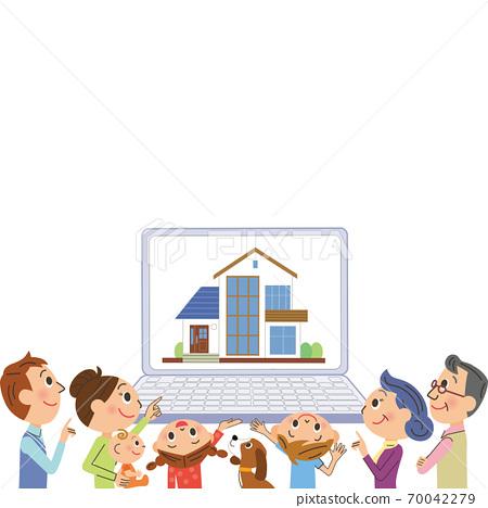 三代家庭在計算機上尋找房子 70042279