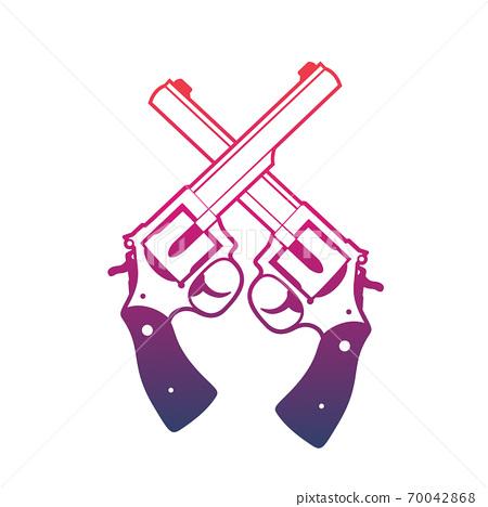 Revolvers, crossed handguns over white 70042868