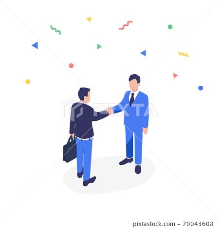 商務人士握手的插圖材料 70043608