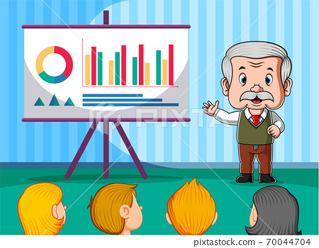 The teacher presentation the graphic in front of the student 70044704
