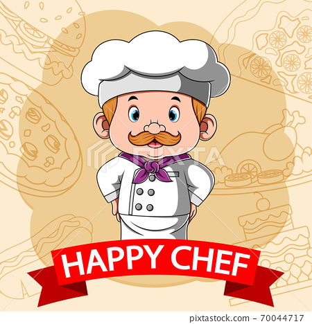 The happy chef with the illustration fast food background 70044717