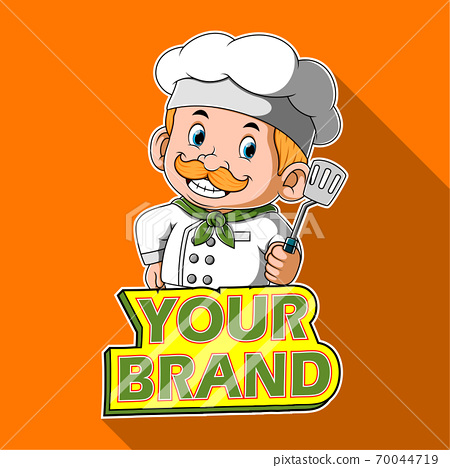 The chef holding the spatula with the banner for the brand 70044719