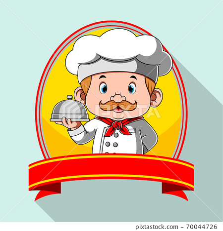 The logo inspiration for the restaurant with the blank banner 70044726