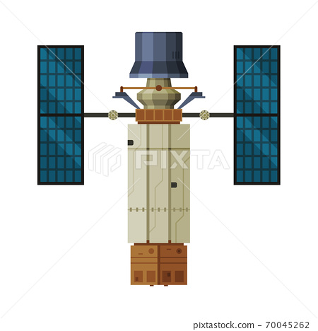 Artificial Space Satellite, Cosmos Exploration Theme Flat Vector Illustration on White Background 70045262