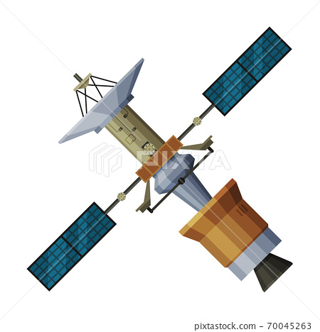 Artificial Space Satellite, Cosmos Exploration, Astronautics and Space Technology Theme Flat Vector Illustration on White Background 70045263