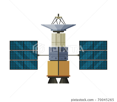 Artificial Satellite Floating, Cosmos Exploration, Space Technology Theme Flat Vector Illustration Isolated on White Background 70045265