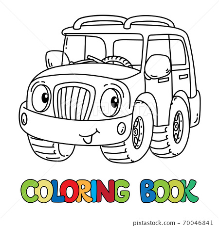 Funny car or outroader with eyes coloring book 70046841