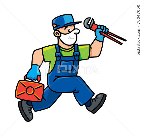 Plumber or repairman with the tools is running 70047000