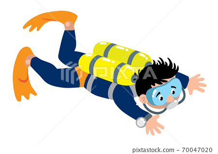 Scuba diver swims under water. Vector illustration 70047020