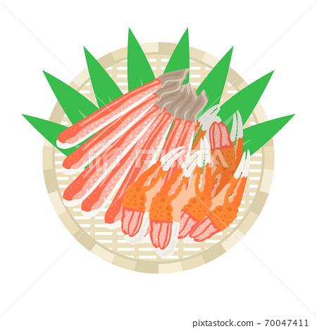 漏勺上的蟹肉插圖 70047411