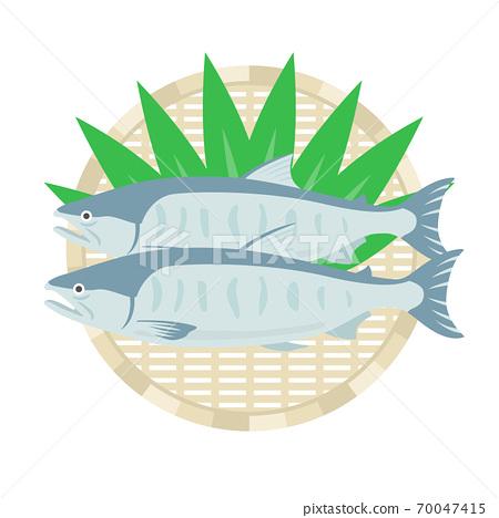 三文魚在漏勺上的插圖 70047415